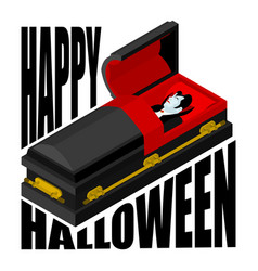 Happy halloween dracula in open coffin for vector