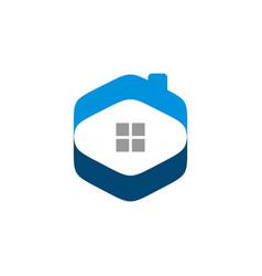 hexagon home real estate logo template design eps vector image
