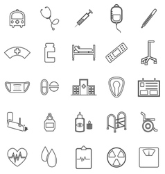 Hospital line icons on white background vector image