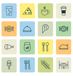 Icons set collection of meal hour mocha sorbet vector