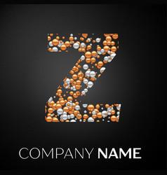letter z logo gold-silver dots vector image