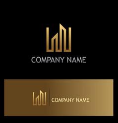 line building gold logo vector image
