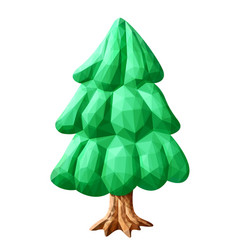 Low poly art with stylized green fir tree vector