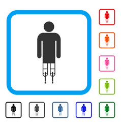 man crutches framed icon vector image