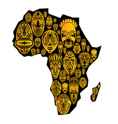 Map of africa with tribal ethnic masks vector