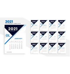 Modern 2021 business calendar template design vector