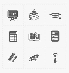 modern flat education icons set on white vector image