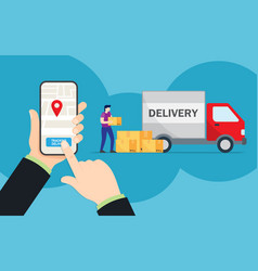 online tracking movement parcels in a vector image