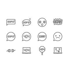 Oops message flat line icons set 404 error vector