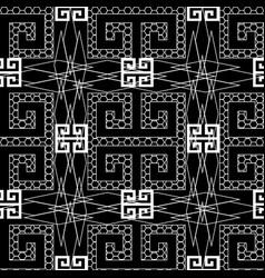 ornamental black and white greek key meander vector image