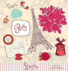 Paris postcard vector