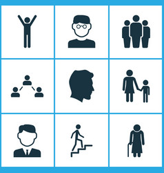 person icons set collection of ladder family vector image