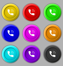 Phone icon sign symbol on nine round colourful vector