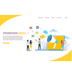 Promotion media website landing page design vector