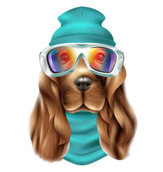 Realistic spaniel dog ski suit portrait vector