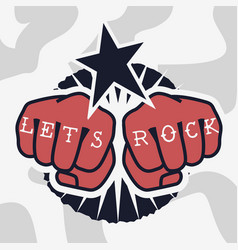 Rock design with a hand fist gesture vector