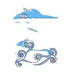 sailing ship sea nautical background vector image