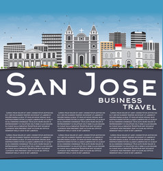 san jose skyline with gray buildings blue sky vector image