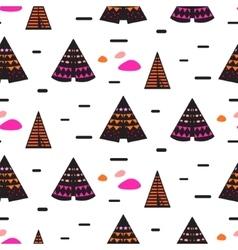 Scandinavian style black teepee seamless pattern vector