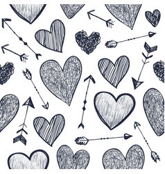 seamless romantic pattern hearts and vector image