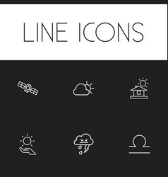 Set of 6 editable weather outline icons includes vector