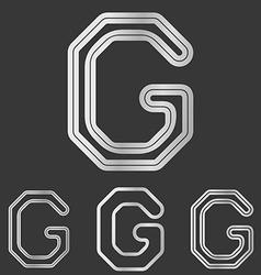Silver line g logo design set vector