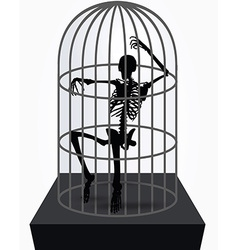 Skeleton silhouette in sitting in cage vector