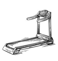 sketch hand drawn gym equipment machine treadmill vector image