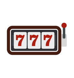 Slot machine with three sevens icon flat style vector