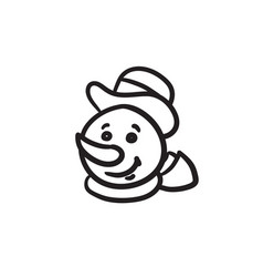 Snowman head sketch icon vector