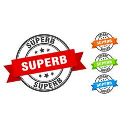 Superb stamp round band sign set label vector