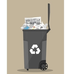 Trash recycle bin container full paper vector