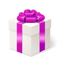 White gift box with bows and pink ribbon vector image