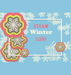 winter sale horizontal banner with colorful vector image