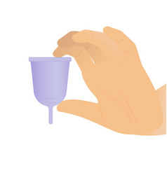 Woman hand holding a purple menstrual cup - white vector