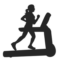 woman running on a treadmill silhouette vector image