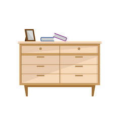 wooden light brown chest of drawers interior vector image