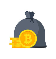 bitcoin bag with money stacks of coins vector image vector image
