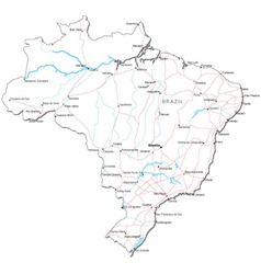 Brazil Black White Map vector image vector image
