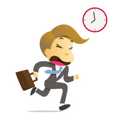 businessman running with briefcase late to work vector image