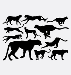 Cheetah wild animal silhouettes vector image