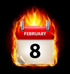 Eighth february in calendar burning icon on black vector