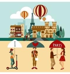 Paris touristic set vector image vector image