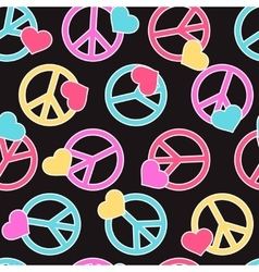 Seamless pattern with peace signs hearts vector image vector image