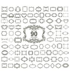 Set of 90 vintage floral frames vector image