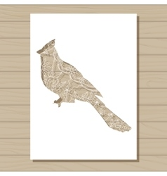 stencil template of cardinal bird on wooden vector image vector image