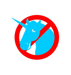 Stop unicorn ban lgbt red road sign prohibited gay vector