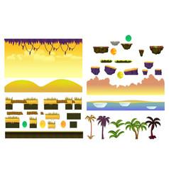 tropical forest landscape elements realistic vector image vector image