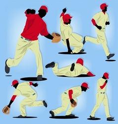Baseball Player Silhouette set vector image vector image