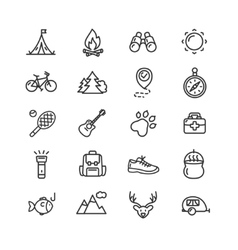 Camping Tourism Hiking Icon Set vector image